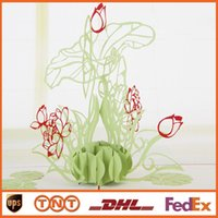 Wholesale D Pop Up Greeting Card DIY Handmade Creative Drawing Lotus Design Card for Birthday Christmas Gift Cards HQ1247