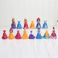 ariel dresses - 14Pcs Set cm Princess Snow White Ariel Belle Rapunzel Aurora PVC Action Figures Toys Dolls Dress Clothes Changeable