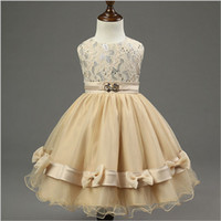 Wholesale girls princess dress Kids dress flower girl dress champagne Princess Puff bow children Formal Wedding dress