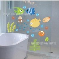 beautiful bathroom tile - 1604 Beautiful Sea Fish and Seaweed Sea World Removable Bathroom Wall Stickers Home Decoration