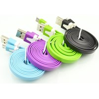 Cheap 1M Noodle Flat Micro USB Cable Cord Data USB Charging Cords Charger Line for i 5 5S 6 Samsung Android Phone Xiaomi Colorful