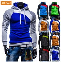 Wholesale New Leisure Men s Hoodies Patchwork Colors Napping Fashion Men s Tracksuits Sweatshirts Hooded Men Coats colors size