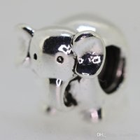 Crystal Animals Silver New! 925 Sterling Silver Cute Baby Elephant Shape Typical European Charm Beads Snake Chain Jewelry