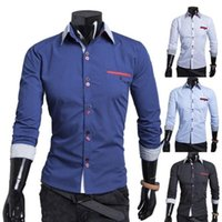 casual shirts for men - Patchwork Double Button Design Casual Long Sleeve Men s Shirts for Boy Men