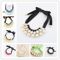 vintage costume jewelry - Collar Choker Pearl Statement Necklace Mix colors ZA Brand Vintage Costume Chunky necklace women luxury crystal jewelry necklace NE110