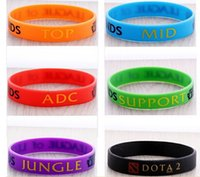 printed silicone bracelet - free Retail LOL GAMES Souvenirs Silicone Wristband LEAGUE of LEGENDS Bracelets with ADC JUNGLE MID SUPPORT TOP Printed Band