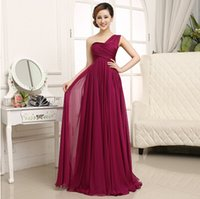 Cheap long burgundy wine red bridesmaid party dresses greek goddess one shoulder dress 2015 for bridesmaids free shipping B1494
