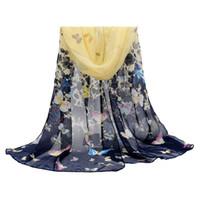 butterfly scarf silk - Winter Scarves Korean Female Butterfly Chiffon Silk Scarfs Shawl Long Beach Towel Elegant Grace Scarves Unique