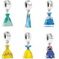 enamel charms - pandora charms silver disne y princess dress collection enamel charms silver fine charms fit thread bracelet loose beads