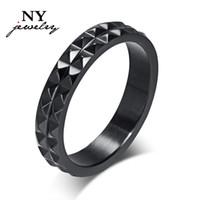 angular steel - Mordern black angular rings for women titanium steel bright rings men ring jewelry