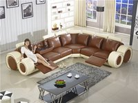Wholesale Recliner Sofa New Design Large SIze L Shaped Sofa Set Italian Leather Corner Sofa with Recliner Chair Small Table Sofa Furniture