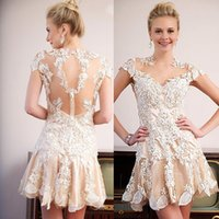 semi formal dress - 2015 Dramatic Semi Formal Sheer Neck Lace Champagne Cocktail Party Short Homecoming Dresses Appliques See Through Cap Sleeves