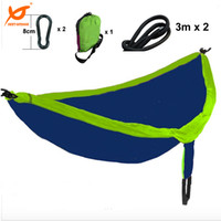 Wholesale 2016 New kgs x180cm Two Person Travel Camping Outdoor Nylon Fabric Hammock Parachute Bed for Blue Green