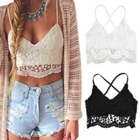Wholesale New Fashion Women Vintage Crop Top Deep V Neck Halter Crochet Tops Lace Camisole Bralette Bandage Backless Top Black White G1366