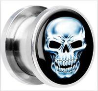 Wholesale 316L stainless steel skull screw ear gauges plugs fashion ear plugs tunnels body jewelry piercing