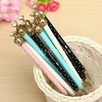 Wholesale 2014 Brand New Colourful Crown Black Ink Elegant Korean Lovely Cute Pearl Gel Pen Kids School Office Supply Gift