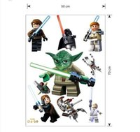 Wholesale Removable LEGO YODA Star War Characters Decal Removable WALL STICKER Kids Room Decor Art D wall sticker
