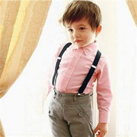 Wholesale 2014 New HE Practical Children Kids Boy Girls Clip on Suspenders for Trousers Elastic Adjustable Braces EH