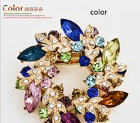 Cheap Fashion Clear Crystal Rhinestone Gold Plated Chinese Redbud Flower Brooch Pin Jewelry Women Brooches for Scarf Y60*MPJ080#M5