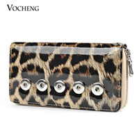 Wholesale VOCHENG NOOSA Interchangeable Jewelry Leopard Print PU Wallet with mm Ginger Snap Button Women Wallet NN