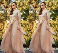 Cheap 2015 Muslim Dubai Abaya Kaftan Evening Dresses Champagne Sequined Top Half Sleeve Vestidos Para Festa Flowing Chiffon Formal Gowns JY066