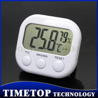 Wholesale 100pcs Factory Prices Digital Hygrometer Thermo Hygro Thermometer LCD Display w Stand White TA668