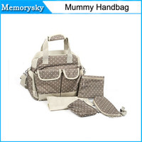 Wholesale Canvas Diaper Bag Tote Mummy Diapers Backpack Khaki Dot Multi function Polka Dot hot sale