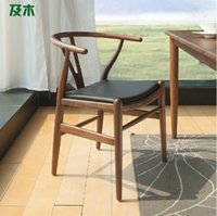 Wholesale Nordic log furniture Y the type chair creative design genuine leather cushion solid wood dining chair