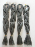 Wholesale grams quot grey Color Xpression Kanekalon Jumbo Box Braiding Synthetic Hair