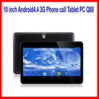 Wholesale 10 inch Android4 G Phone call Tablet PC Q88 Quad core MTK6572 GRam GRom GPS bluetooth Dual Camera Tablets with SIM
