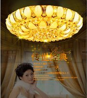 Wholesale Hot European round crystal lights golden bedroom ceiling living room lights hotel restaurant LED lamp