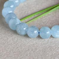 beryl aquamarine - Natural Genuine Blue Aquamarine Stretch Bracelet Round Beads mm Beryl Bracelets Fit Jewelry