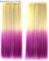 Wholesale Popular Hair Extentions Ombre Color five clips Long Straight Hair Piece and Retail G0042Z Hot Sale