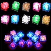Wholesale Set of Lite cubes Multicolor Light up LED Blinking Ice Cubes Liquid active Night Light Party Xmas wedding decor