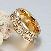 al por mayor anillo doble para mujer-2016 Anillo de acero de la joyería de la boda del titanio de los Rhinestones de las líneas dobles de la manera para hombre de las mujeres calientes