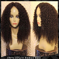 big knot ties - 100 Human Virgin Hair Lace Front Wig Kinky Curly Peruvian Hair Full Lace Wigs Bleached Knots Middle Part