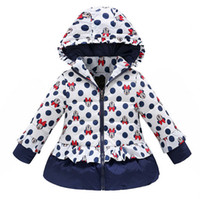 Wholesale girls winter coat children Polka Dot Hooded Jacket outerwear Teenagers Kids Girls warm cartoon clothing Down Parkas for Y