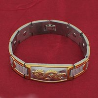 Wholesale New Mens Golden Chinese Power Dragon Magnetic Energy Stainless Steel Bracelet