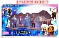Wholesale CHRISTMAS GIFT for kids Frozen dolls Piece Action Figurine Playset toys Anna Elsa Hans Kristoff Sven Olaf Kids EMS FREESHIP