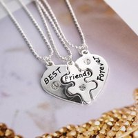 best sweaters for men - Crystal parts friendship necklace best friends Jewelry For Women and Men heart necklace silver sweater chain free ship