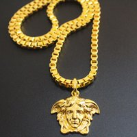 african rock - Hot Brand k Real Gold Plated Hip Hop Medusa Head Necklace Men s Punk Style Rock Night club