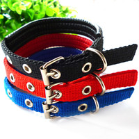 big nylon dog collar - 45 cm Length Dual Layer Super Comfort Foam Cotton Nylon Strap Pet Collar for Small and Big Dogs