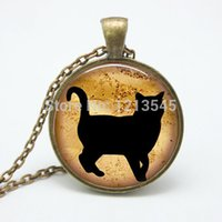 art kitten - New Fashion Kitten Art Pendant Jewelry Cat Collage Pendant jewelry Cat glass Chain Necklace FTC N238