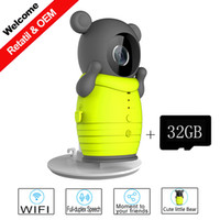 Wholesale 32GB TF Card and Cute Little Bear WIFI Camera with IR Cut Night Vision Max support GB TF Card IP Surveillance Wireless Camera