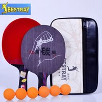 Wholesale Handmade red and black one a table tennis racket Bestray durable Backplane Penhold racket short handle