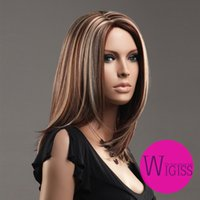 Wholesale 19 quot Beautiful Female Glamorous Charming Fashion Parted Kanekalon Long Brown Blond Straight Lady Wigs Hair H9091Z