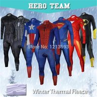 Wholesale Captain America Superman Spiderman Iron Man Cycling Jersey winter thermal fleece long sleeves bib pants Set Bike bicycle