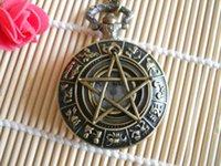Wholesale Unique Bronze Penram Five Pointed Star Zodiac Pocket Watch Pendant Necklace