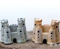 Wholesale 2pcs Mini European Castle House Resin Craft Home Fairy Miniature Garden Bonsai Potting Showcase Microlandchafts Gonme Decoration Tools