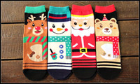 Wholesale 2015 santa claus women men creative novelty tube socks cartoon santa reindeer snowman bear christmas socks J082803